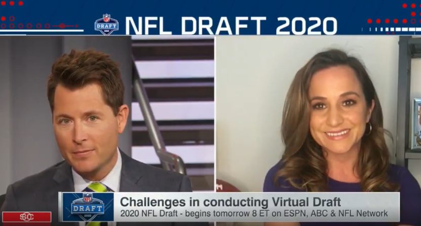 Matt Barrie and Dianna Russini in an ESPN segment waylaid by technical difficulties.