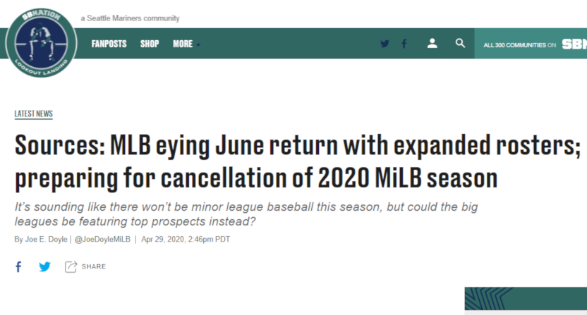 The Joe Doyle report on MiLB being cancelled.