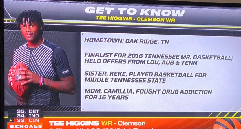 The ESPN/NFLN graphic on Tee Higgins.