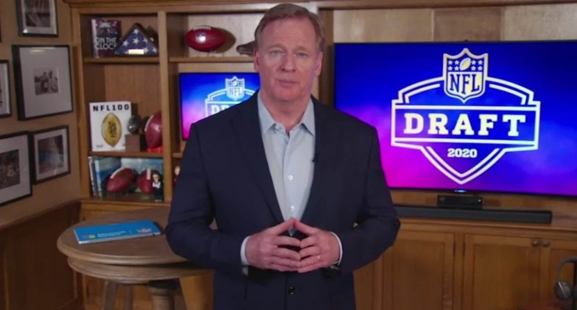 Roger Goodell hosting the 2020 NFL draft.