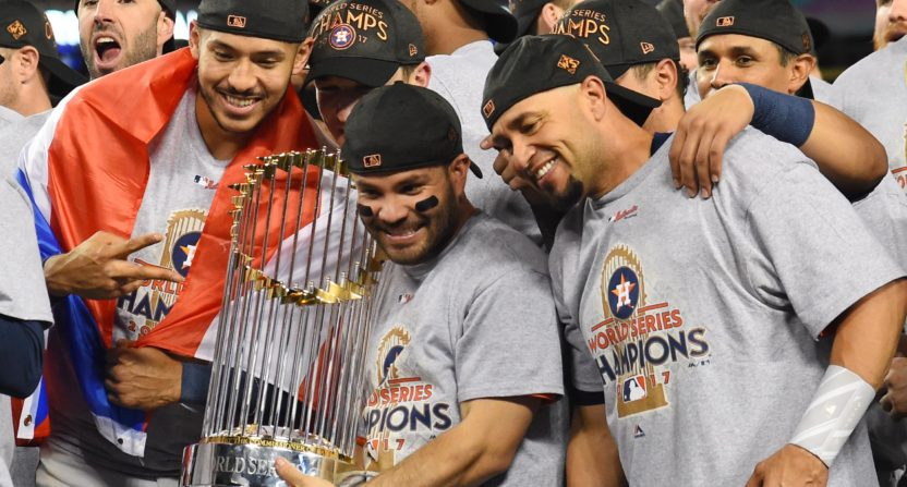 The Houston Astros celebrating their 2017 World Series win.