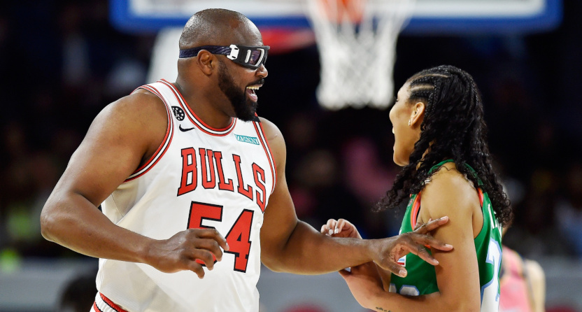 Horace Grant with A'ja Wilson in the 2020 NBA All-Star Celebrity Game.