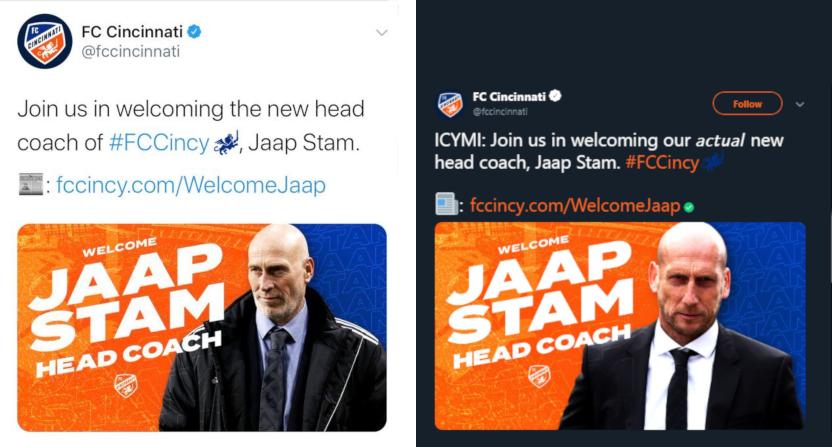 Actual Jaap Stam is on the right. Tinus van Teunenbroek is on the left.