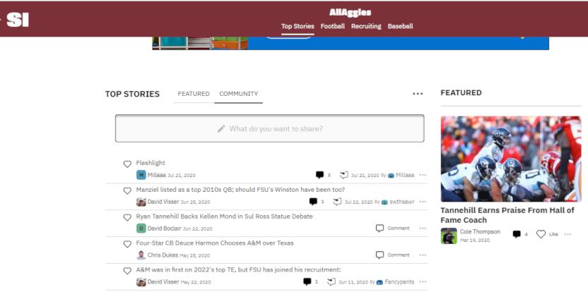 The AllAggies community tab.