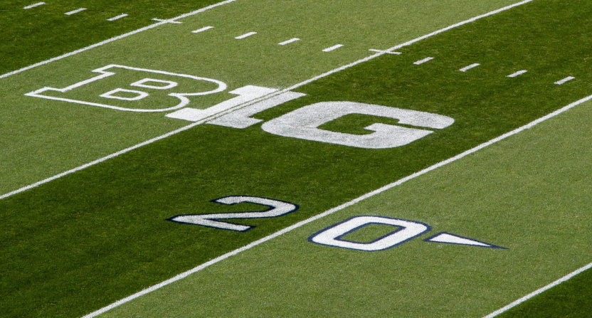 The Big Ten logo near the 20-yard line in a 2019 Buffalo-Penn State game.