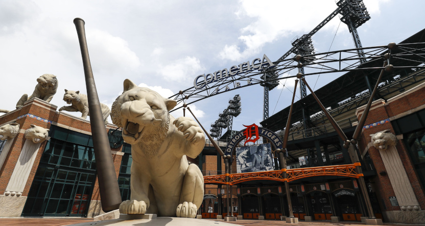 The Detroit Tigers' home stadium, Comerica Park.
