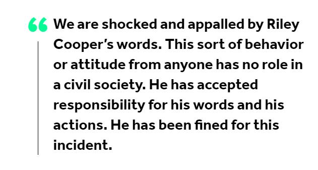The Philadelphia Eagles' statement in 2013 on Riley Cooper.