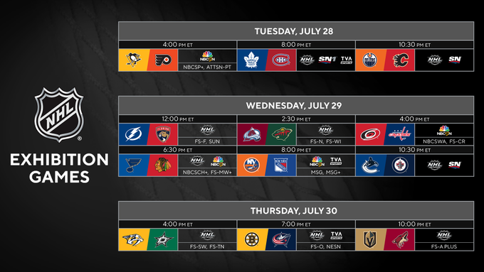 The NHL exhibition schedule.