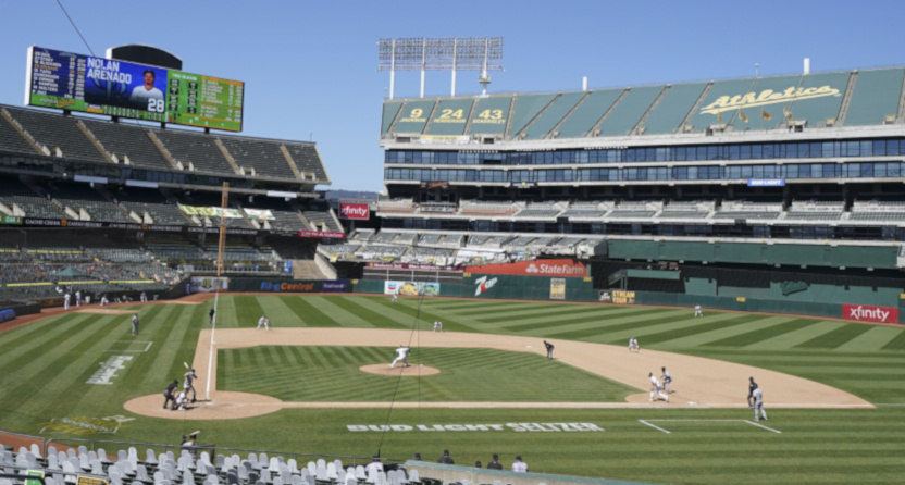 An Oakland A's game against the Colorado Rockies on July 29, 2020.