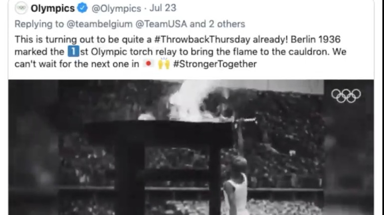 An IOC video included footage of the 1936 Olympics torch lighting.