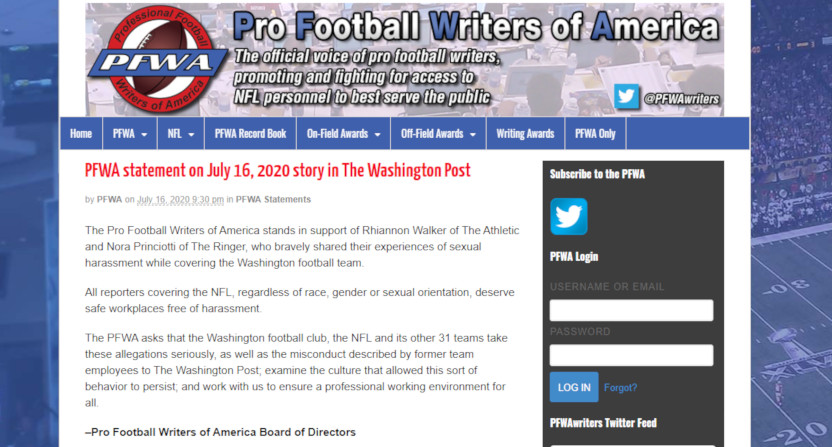 The PFWA statement after a Washington Post article on sexual harassment from employees of the Washington NFL franchise.