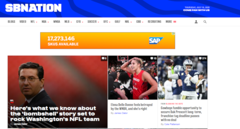 The SB Nation home page for July 16, 2020.