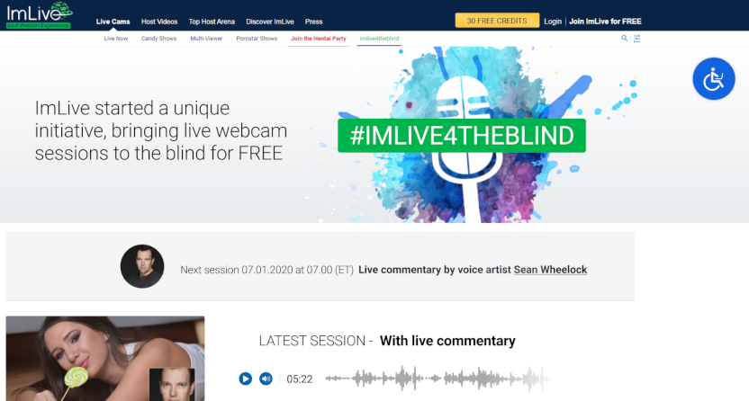 The ImLive camming site for the visually impaired.