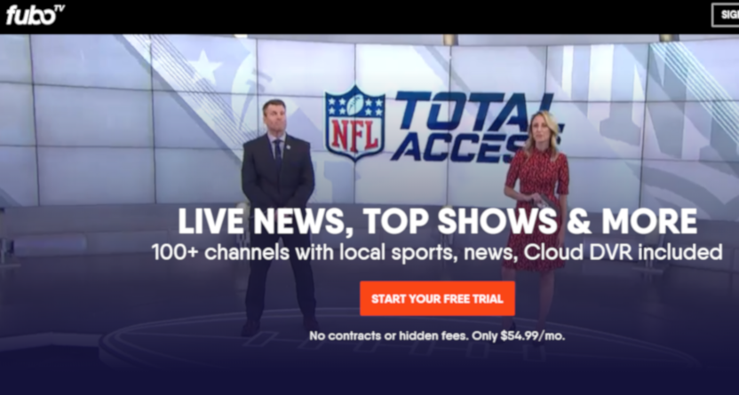 A fuboTV ad with NFL Total Access.