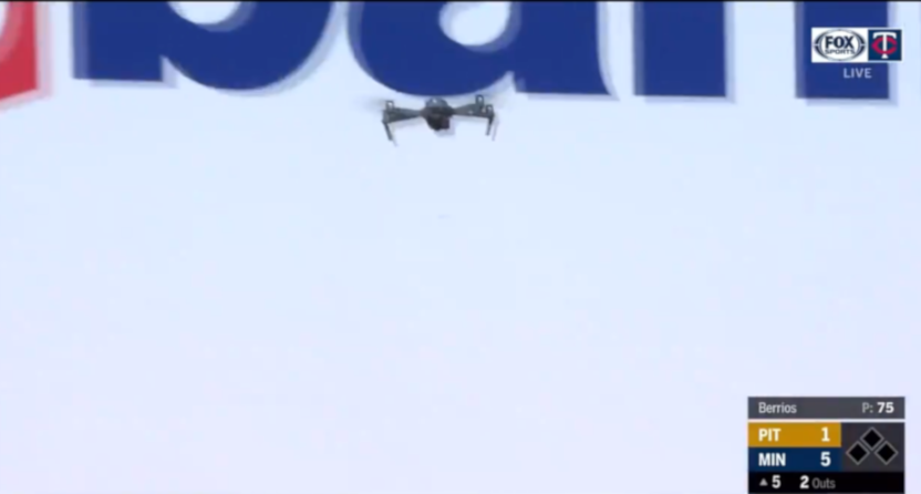 A drone at the Twins' Target Field on August 4, 2020.