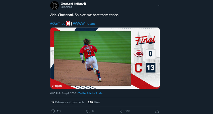 The Indians' tweet about beating the Reds in three straight games.