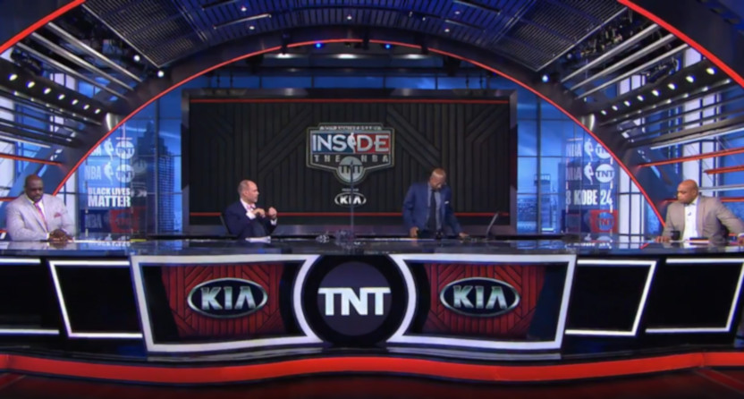 Kenny Smith walks off the NBA on TNT set.
