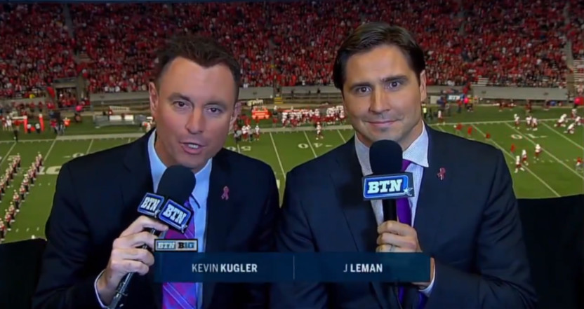 Kevin Kugler and J Leman on a 2018 BTN broadcast.
