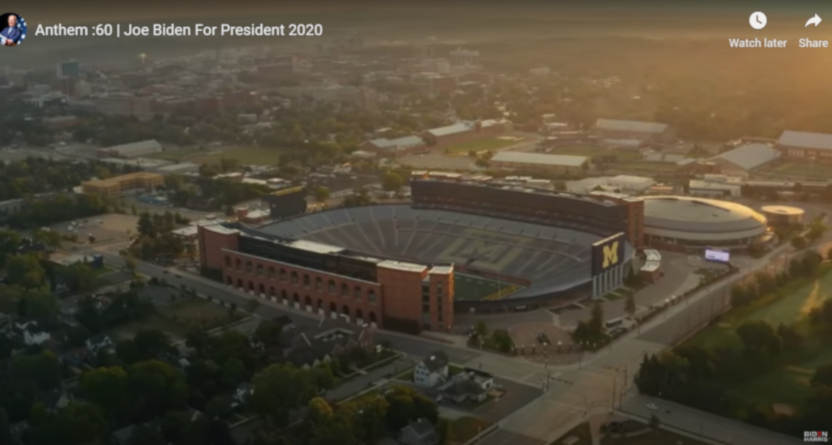 """Joe Biden's """"Anthem"""" ad boosted Big Ten political discussion, and used an image of an empty Michigan Stadium."""
