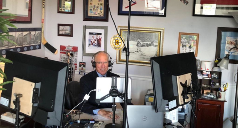 """The home studio Mike """"Doc"""" Emrick is using in 2020. (NHL.com.)"""