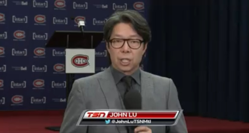 John Lu reporting on the Montreal Canadiens in January 2020.