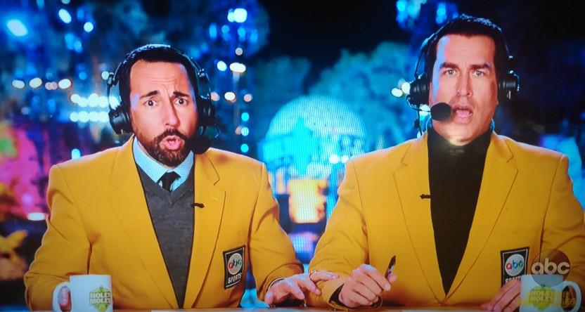 Joe Tessitore and Rob Riggle reacting to a Holey Moley fail.