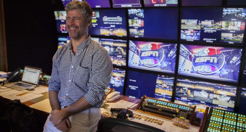 ESPN senior coordinating producer Tim Corrigan in the truck on Christmas Day 2015 (Peter DaSilva/ESPN Images).