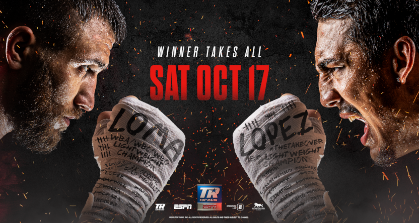 A poster for Top Rank's Lomachenko-Lopez fight.