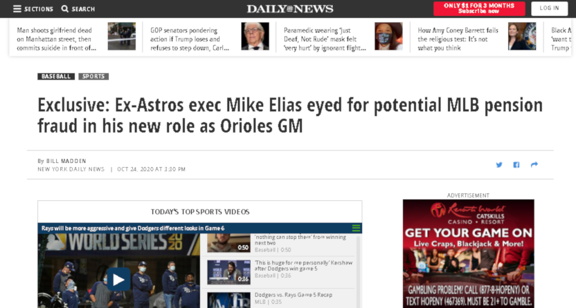 A New York Daily News piece from Bill Madden on Mike Elias.