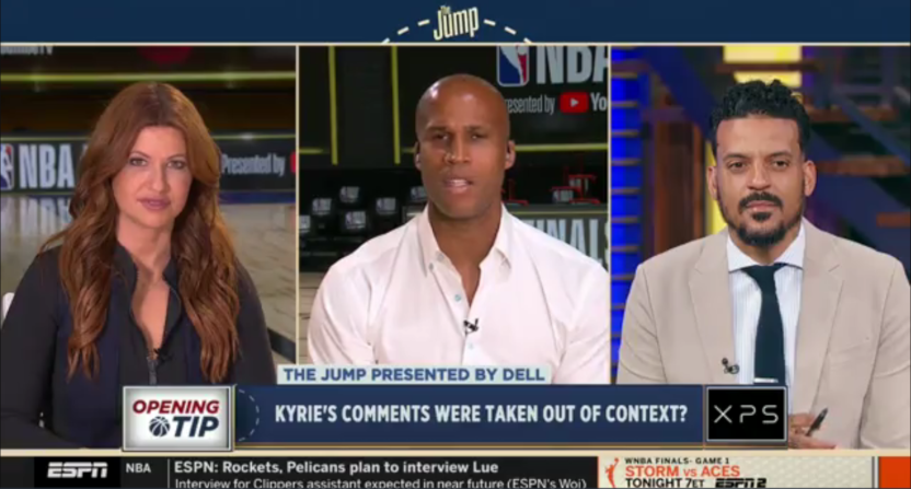 "Rachel Nichols, Richard Jefferson, and Matt Barnes on The Jump on Oct. 2, 2020. They discussed Kyrie Irving's ""clickbait"" comments."