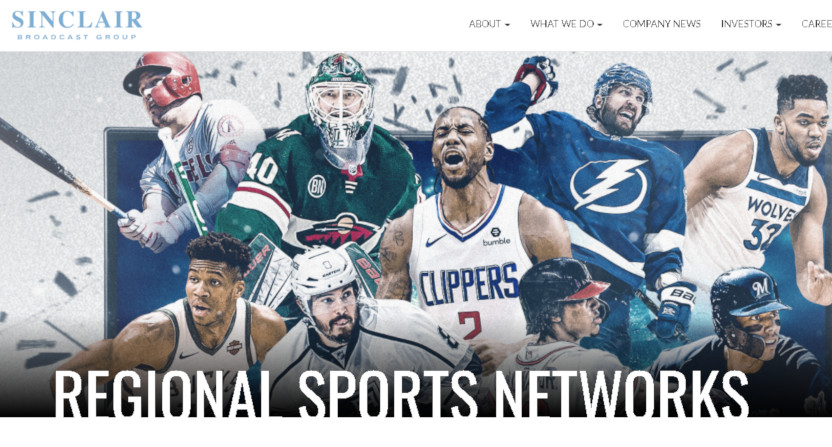 The Sinclair regional sports networks page.