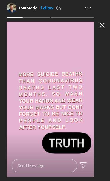 Tom Brady's Instagram post on suicide rates.