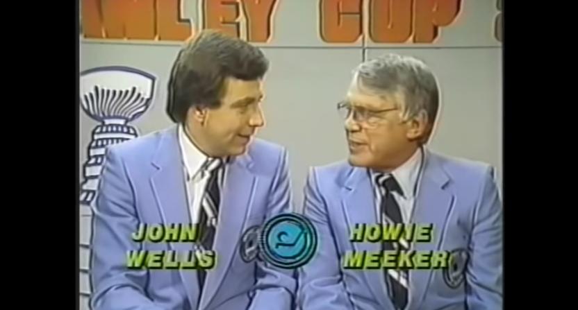 Howie Meeker (R) on Hockey Night In Canada with John Wells in 1983.
