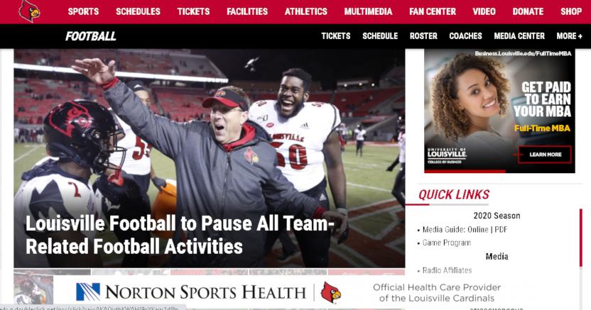 The Louisville Cardinals' website announcing their football pause.