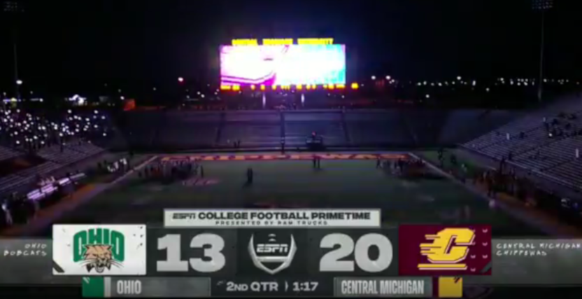 A power outage in the Ohio-Central Michigan game.
