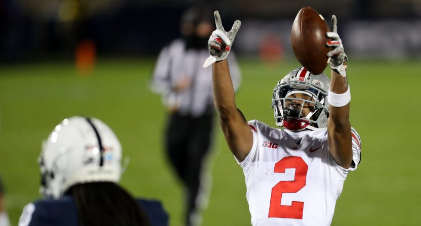 The Ohio State-Penn State game was one of ABC's windows that did well this week. Ohio State's Chris Olave is seen above celebrating a catch.
