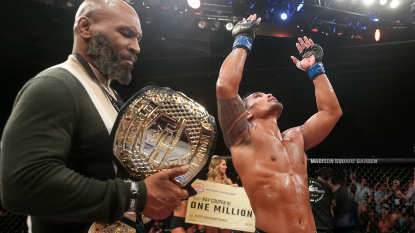 Ray Cooper (right above) after winning his second PFL welterweight title in 2019.