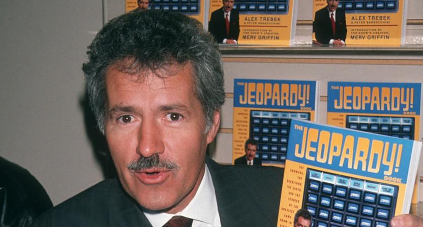 An 1990 photo of Alex Trebek with a moustache.