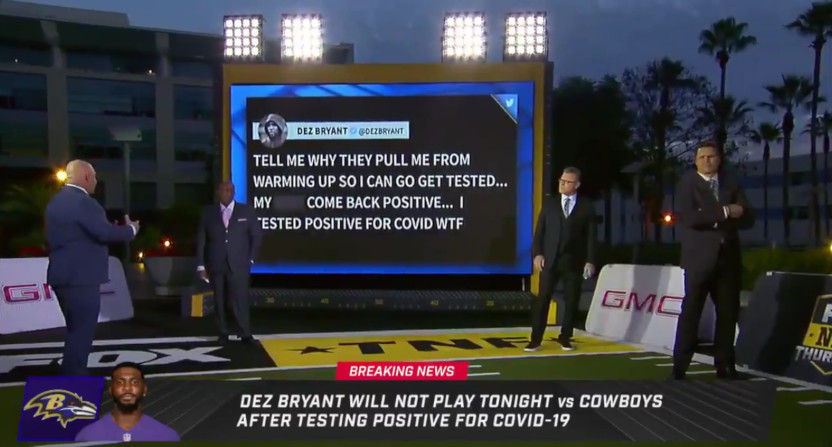 Fox's report on Dez Bryant's positive COVID-19 test.