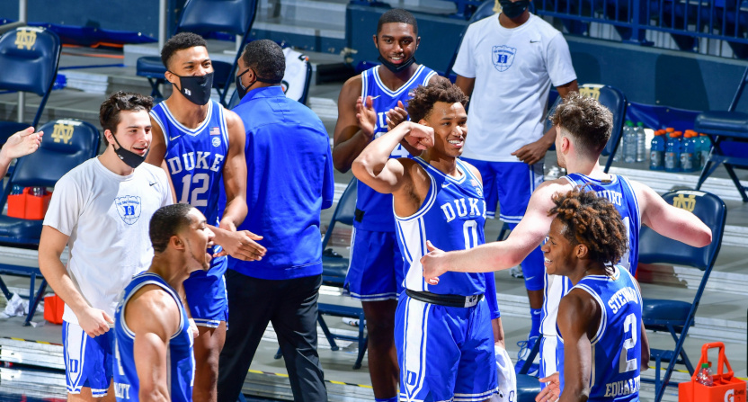 Duke players celebrate against Notre Dame on Dec. 16.