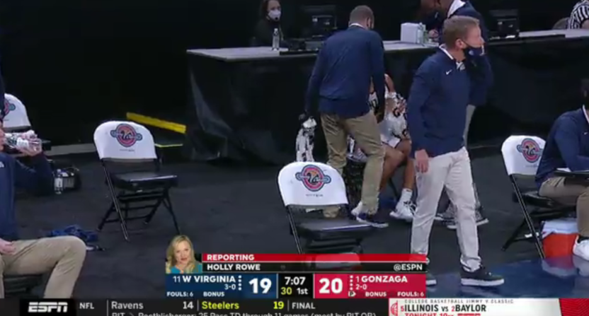 Holly Rowe filling in on play-by-play.