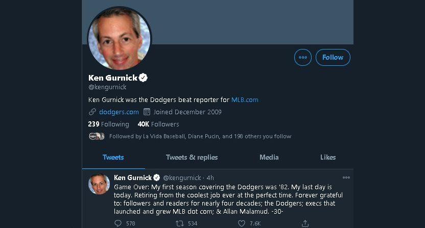 Ken Gurnick's Twitter profile.