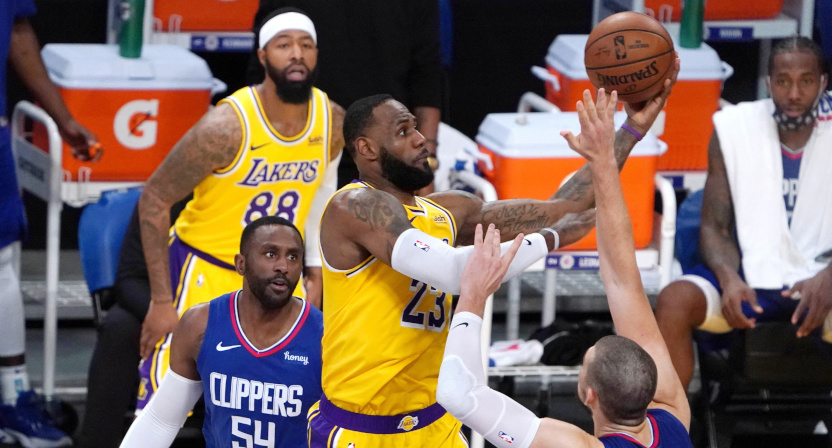 LeBron James against the Clippers on NBA Opening Night 2020.