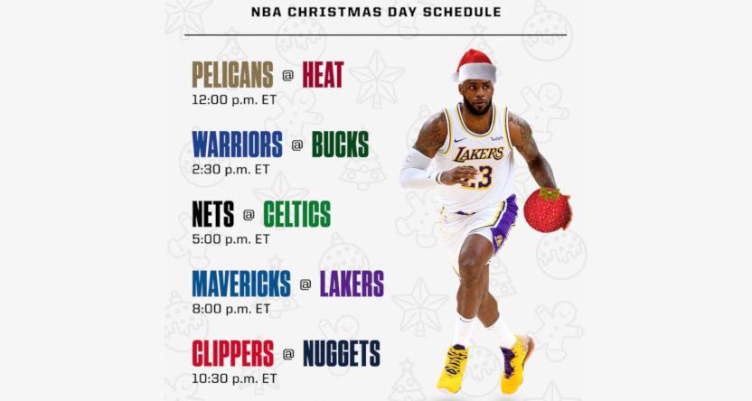 The NBA Christmas Day schedule in 2020, as per ESPN's Adrian Wojnarowski.