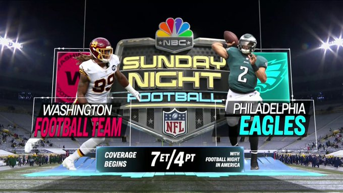 The Sunday Night Football announcement for Washington and Philadelphia in Week 17.