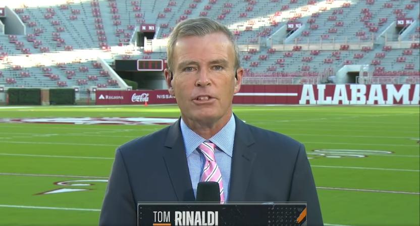 Tom Rinaldi on ESPN's College GameDay in October 2020.