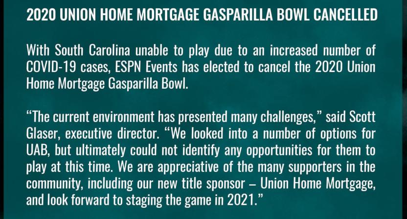 The Gasparilla Bowl cancellation.