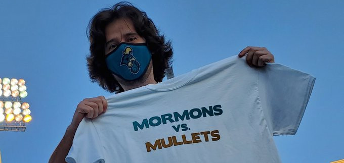 The BYU-Coastal Carolina Mormons vs Mullets t-shirts.
