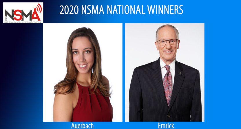 "Nicole Auerbach and Mike ""Doc"" Emrick were 2020 NSMA award winners."