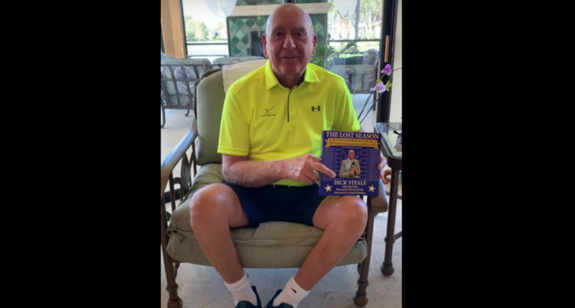 """Dick Vitale with his newest book, """"The Lost Season."""""""